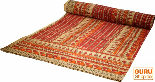 Blockdruck Tagesdecke, Bett & Sofaüberwurf, handgearbeiteter Wandbehang, Wandtuch - rot Retro