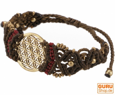 Goa Armband, Makramee, Festival Armband - Blume des Lebens/braun Modell 17