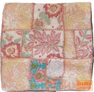 Patchwork Kissenhülle, Dekokissen Bezug aus Rajasthan, Einzelstück - Muster 60
