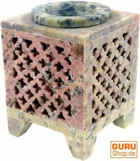 Indische Duftlampe, ätherisches Öl Diffusor, Teelicht Halter für Aromatherapie, Aromalampe aus Speckstein - Würfel Orient