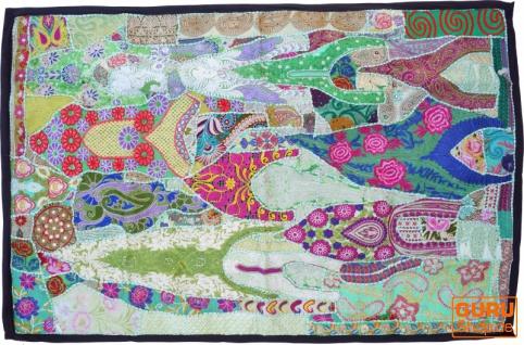 Indischer Wandteppich Patchwork Wandbehang, Einzelstück 150*100 cm - Muster 25