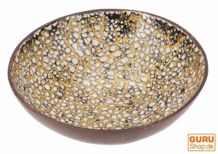 Vergoldete Schale aus Kokosnuss, exotische Dekoschale - Schwarz/weiß