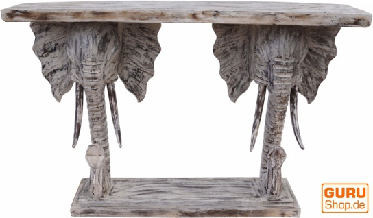 Sideboard, Telefontisch aus geschnitztem Elefantenköpfen