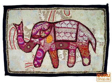 Indischer Wandteppich Patchwork Wandbehang mit Elefant, Einzelstück
