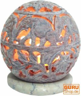 Indisches Duft Potpourri Behälter aus Speckstein, Teelicht - Kugel Elefanten - Vorschau 1