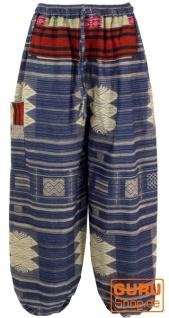 Yogahose, Ikat Pluderhose mit breitem gewebtem Bund - blau