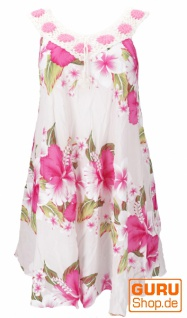 Plus Size Boho Minikleid, weites Sommerkleid, Häkelkleid, Strandkleid, Damen Krinkelkleid Übergröße - weiß/pink
