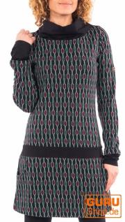 Langärmlige Tunika aus Bio-Baumwolle / Chapati Design - black geo