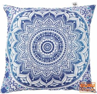 Kissenhülle Sonnen - Mandala, bedruckter Boho Kissenbezug - blau