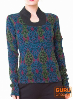 Pullover, Langarmshirt aus Bio-Baumwolle / Chapati Design - wine multi