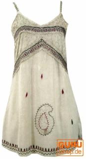 Besticktes indisches Kleid, Boho Minikleid - beige Design 1