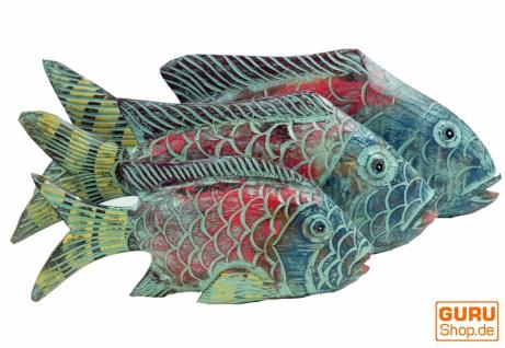 Geschnitzter Fisch, Dekoobjekt Fisch in 3 Größen - bunt
