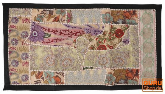 Indischer Wandteppich Patchwork Wandbehang, Tischläufer, Einzelstück 85*45 cm - Muster 6