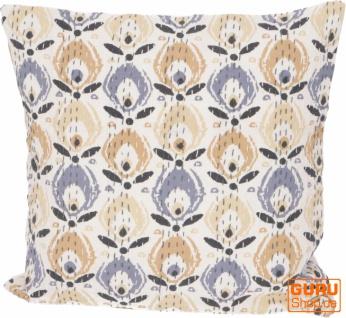 Kissenhülle, Kissenbezug mit Ethno Muster ` Paradies` - beige/blau