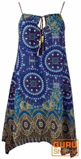 Boho Dashiki Midikleid, Trägerkleid, Strandkleid für starke Frauen - flieder/türkis