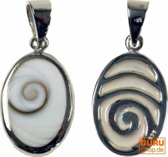 Boho Silberanhänger mit Shiva-Muschel - Lebensspirale