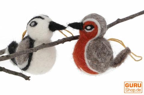 Filzdekoration Vögel, handgemachte Tiere aus Filz, Baumbehang - Set 1