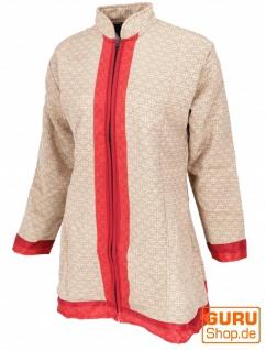 Indische Boho Seidenbrokat Jacke, Sareeseide Mantel, Einzelstück, beige - Modell 14