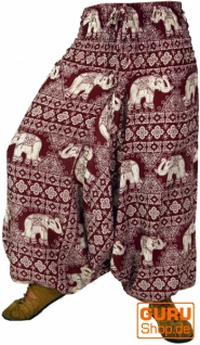 Haremshose und Overall mit Elefantendruck - rot