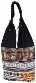 Sadhu Bag, Ethno Schulterbeutel, Hippie Tasche aus Thailand - weiß/rot