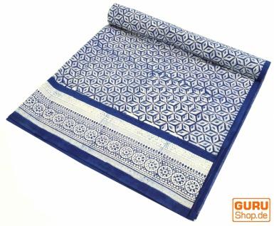 Blockdruck Tagesdecke, Bett & Sofaüberwurf, handgearbeiteter Wandbehang, Wandtuch blau, mehrfarbig - Design 11