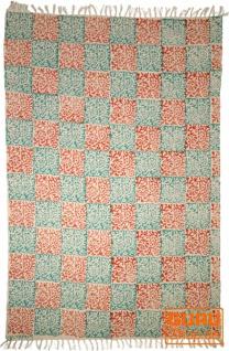 Handgewebter Blockdruck Teppich aus natur Baumwolle mit traditionellem Design - Muster 2