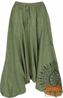 Haremshose Pluderhose, Pumphose mit Mandala, Aladinhose aus Baumwolle - olivgrün