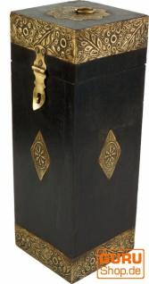 Weinflaschen Holz Box mit Messingverzierungen, Geschenkverpackung Weinflasche Geschenkbox, Weinbox, Wein Kiste - Modell 2
