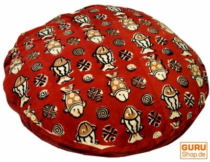Runde Kissenbezug Blockdruck, Kissenhülle Ethno, Dekokissen Bezug mit traditionellem Design - Fische rot