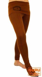 Yoga-Hose mit breitem Bund Bio Baumwolle Yogi - caramel