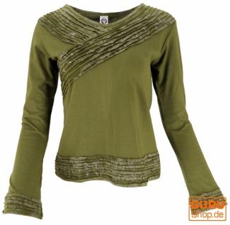 Langarmshirt Boho-chic, Hare Krishna Mantra Shirt - olivgrün