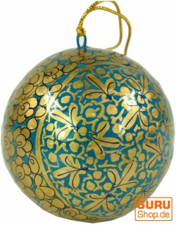 Upcyceling Weihnachtskugel aus Pappmachee, Handbemalter Christbaumschmuck, Kaschmirkugeln - Muster 9