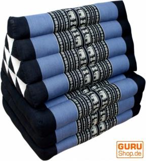 Thaikissen, Dreieckskissen, Kapok, Tagesbett mit 3 Auflagen - schwarz/blau - Vorschau