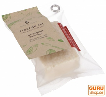 Handgemachte Duftseife Fleur de Sel, 100 g Fair Trade - Lemongras-Geranium