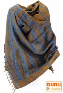 Weicher Goa Schal, großes Schultertuch, indischer Schal/Stola - türkis/mustard