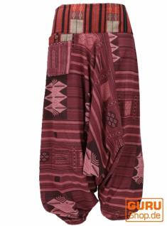 Haremshose mit breitem gewebtem Bund, Ikat Thai Pluderhose - bordeauxrot