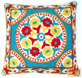 Kelim Kissenhülle, Boho Kissenbezug `Kaschmir` aus Wolle - Muster 5