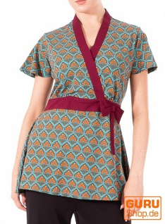 Tunika aus Bio-Baumwolle / Chapati Design - turquoise retro
