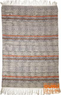 Handgewebter Blockdruck Teppich aus natur Baumwolle mit traditionellem Design - Muster 15