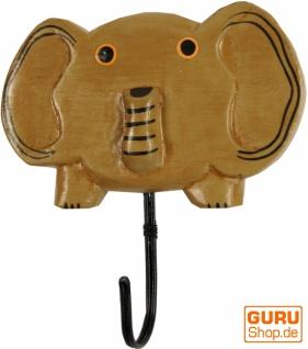 Bunter Holzkleiderhaken, Wandhaken, Kleiderhaken - Elefant 2