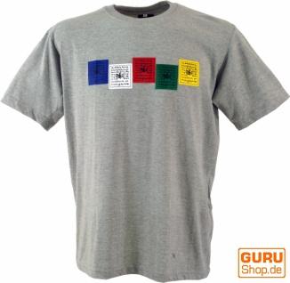 Tibet & Buddhist Art T-Shirt - Gebetsfahne / grau