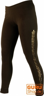 Psytrance Damen Leggings, Stretch Hose für Frauen, Yogahose - coffee