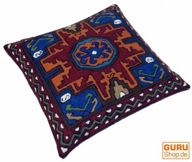 Kelim Kissenhülle `Kaschmir`, bestickter Kissenbezug, Dekokissen aus Wolle - Muster 8