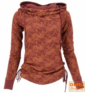 Longshirt aus Bio-Baumwolle, Boho Shirt Schalkapuze - dattelbraun/orange