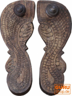 Indische Paduka Sandalen, antike Holzsandalen, Dekoojekt Holzschuh - Model 1