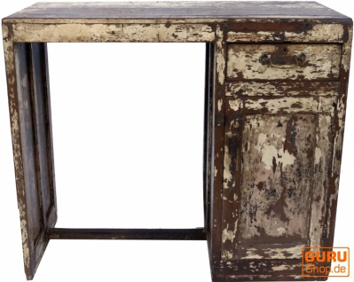 Antiker vintage Schreibtisch mit Patina, 1 Schublade und Ablagefächern
