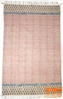 Handgewebter Blockdruck Teppich aus natur Baumwolle mit traditionellem Design - Muster 22