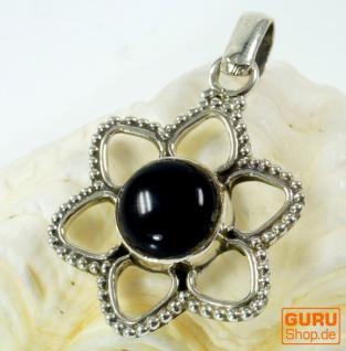 Ethno Silberanhänger, Silber Blütenanhänger - Onyx