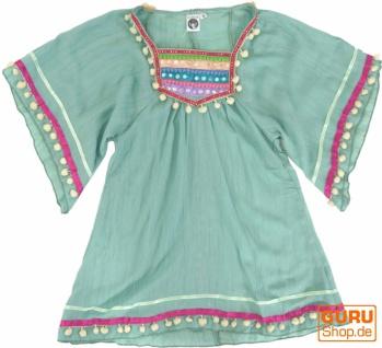 Poncho, Mädchenbluse, Boho Kinder Tunika, Kinderkleid - aqua