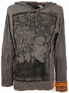 Sure Langarmshirt, Kapuzenshirt Mantra Buddha - taupe